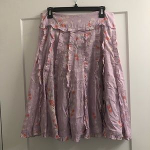 Anthropologie Odille Lavender Floral Skirt